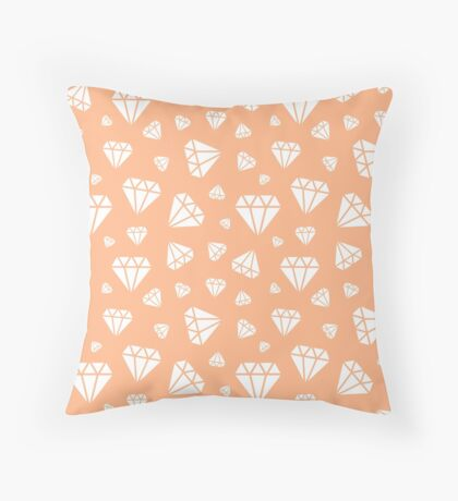 Peach Faceted Diamonds Pattern Throw Pillow