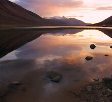 Sunset Reflections of Loch Etive, Scotland by KerryElaine