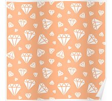 Peach Faceted Diamonds Pattern Poster
