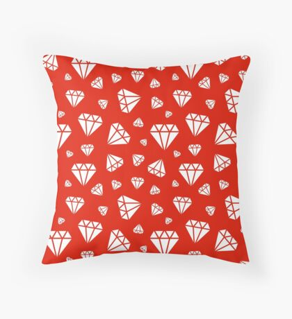 Red Faceted Diamonds Pattern Throw Pillow