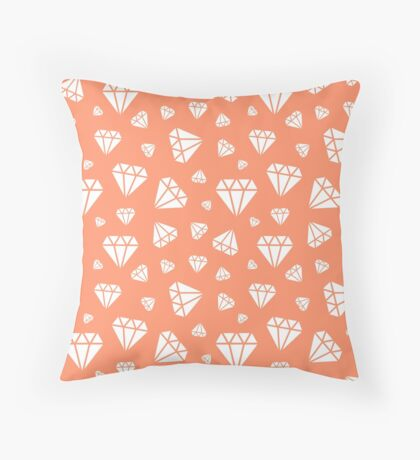 Coral Faceted Diamonds Pattern Throw Pillow