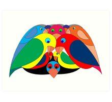 Colourful parrots Art Print