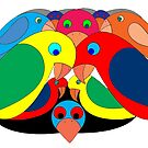 Colourful parrots by David Fraser