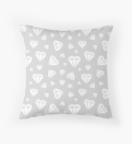 Light Grey Faceted Diamonds Pattern Throw Pillow