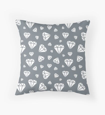 Cool Grey Faceted Diamonds Pattern Throw Pillow
