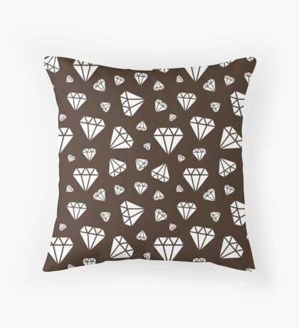 Chocolate Faceted Diamonds Pattern Throw Pillow