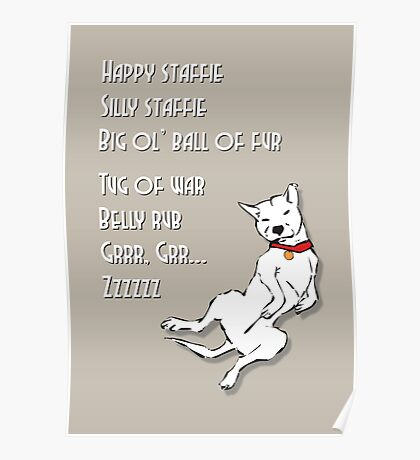 Happy Staffie Silly Staffie Poster