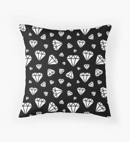 Black Faceted Diamonds Pattern Throw Pillow