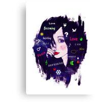 Thinking woman illustration typography  Canvas Print