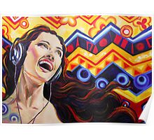 Girl listening music Poster