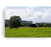 The tree, the Pyramid stage and the Tor (Glastonbury) Canvas Print