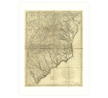 American Revulution The Marches of Lord Cornwallis Map (1787) Art Print