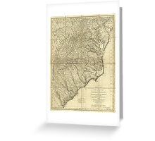 American Revulution The Marches of Lord Cornwallis Map (1787) Greeting Card
