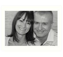 mum and chris black and white Art Print