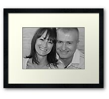 mum and chris black and white Framed Print