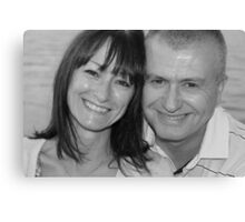 mum and chris black and white Canvas Print