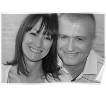 mum and chris black and white Poster