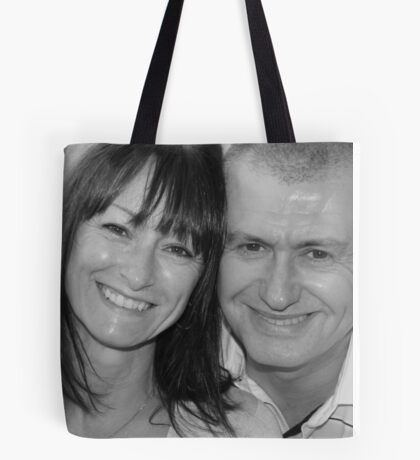 mum and chris black and white Tote Bag