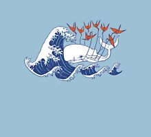 Swell Whale - Japanese Waves And Origami Cranes T-Shirt