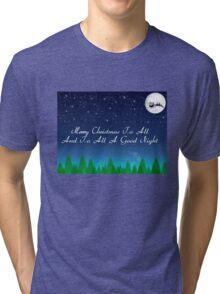 Santas Sleigh over the Moon Tri-blend T-Shirt