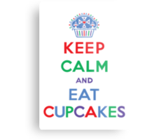 Keep Calm and Eat Cupcakes- primary Metal Print