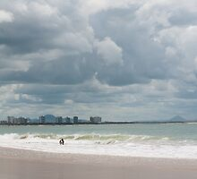 Body Boarding at Mooloolaba Beach by Helen Barnett