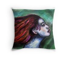Girl with the flowing hair Throw Pillow