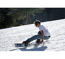 Eric Sliding Down the Hill Photographic Print