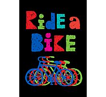 Ride a Bike - sketchy - black Photographic Print