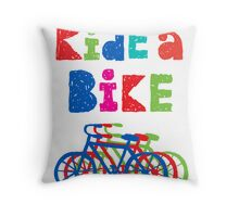 Ride a bike - sketchy - white Throw Pillow