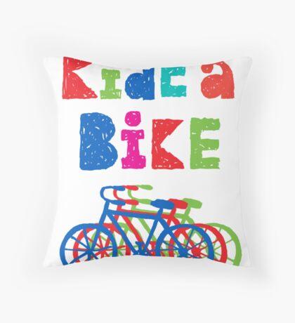 Ride a bike - sketchy - white Throw Pillow