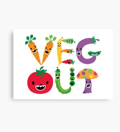 Veg Out - white Metal Print