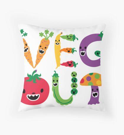 Veg Out - white Throw Pillow