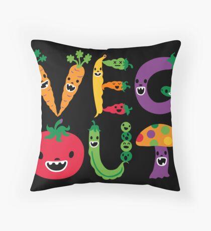 Veg Out - black Throw Pillow