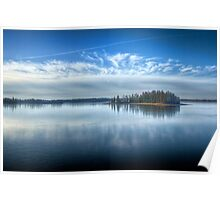 Island of Pines on Frozen Lake Poster