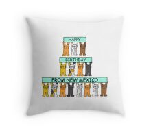 Cats Happy Birthday from New Mexico Throw Pillow