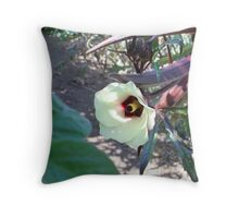 Red Okra in Bloom Throw Pillow