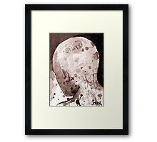 man with illustrated head Framed Print