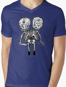 Calavera Twins Mens V-Neck T-Shirt