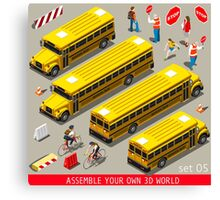 School Bus Vehicle Isometric Canvas Print
