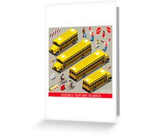 School Bus Vehicle Isometric Greeting Card