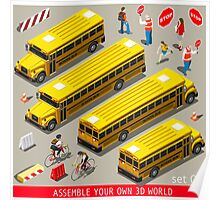 School Bus Vehicle Isometric Poster