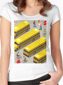 School Bus Vehicle Isometric Women's Fitted Scoop T-Shirt