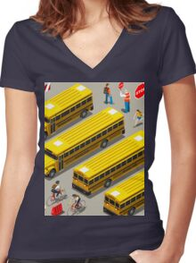 School Bus Vehicle Isometric Women's Fitted V-Neck T-Shirt