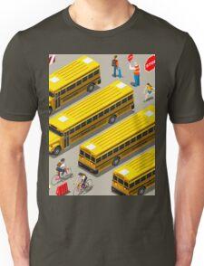 School Bus Vehicle Isometric Unisex T-Shirt