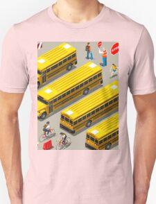 School Bus Vehicle Isometric T-Shirt
