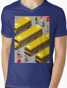 School Bus Vehicle Isometric Mens V-Neck T-Shirt