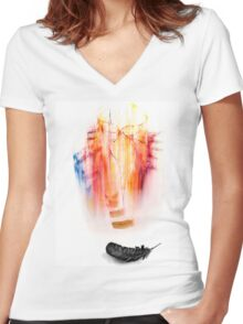 Falling Away; Women's Fitted V-Neck T-Shirt