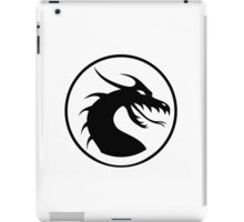 DRAGON, HEAD, CIRCLE, SYMBOL, BLACK on WHITE, LOGO iPad Case/Skin