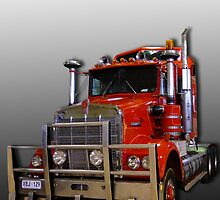 Red Kenworth Truck Happy Birthday by Julia Harwood